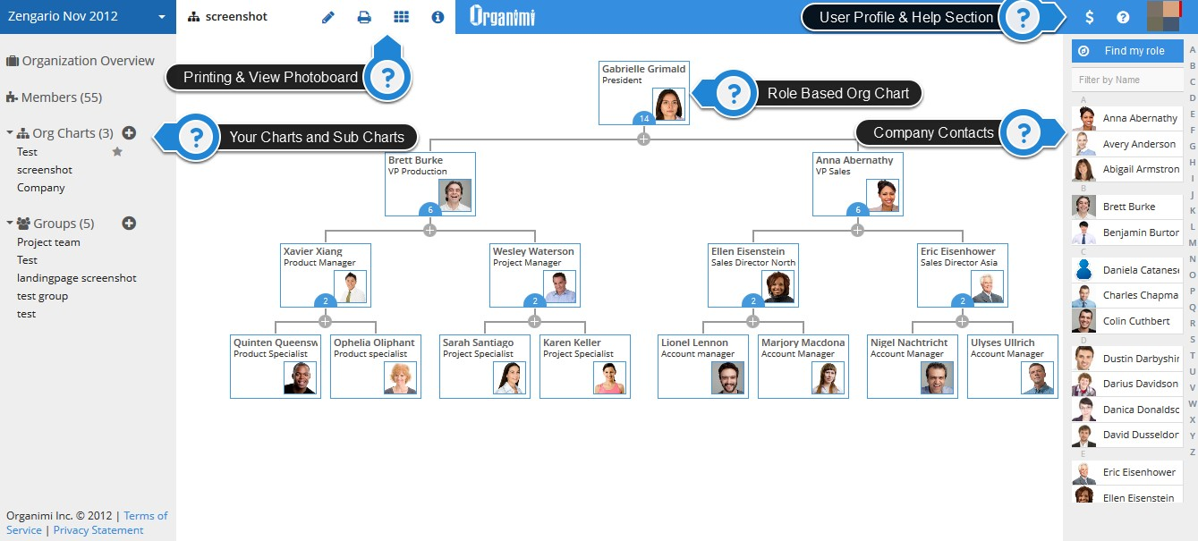 we dont see org charts as a set of boxes in someones software program with stale information in them - Organisational Chart Creator