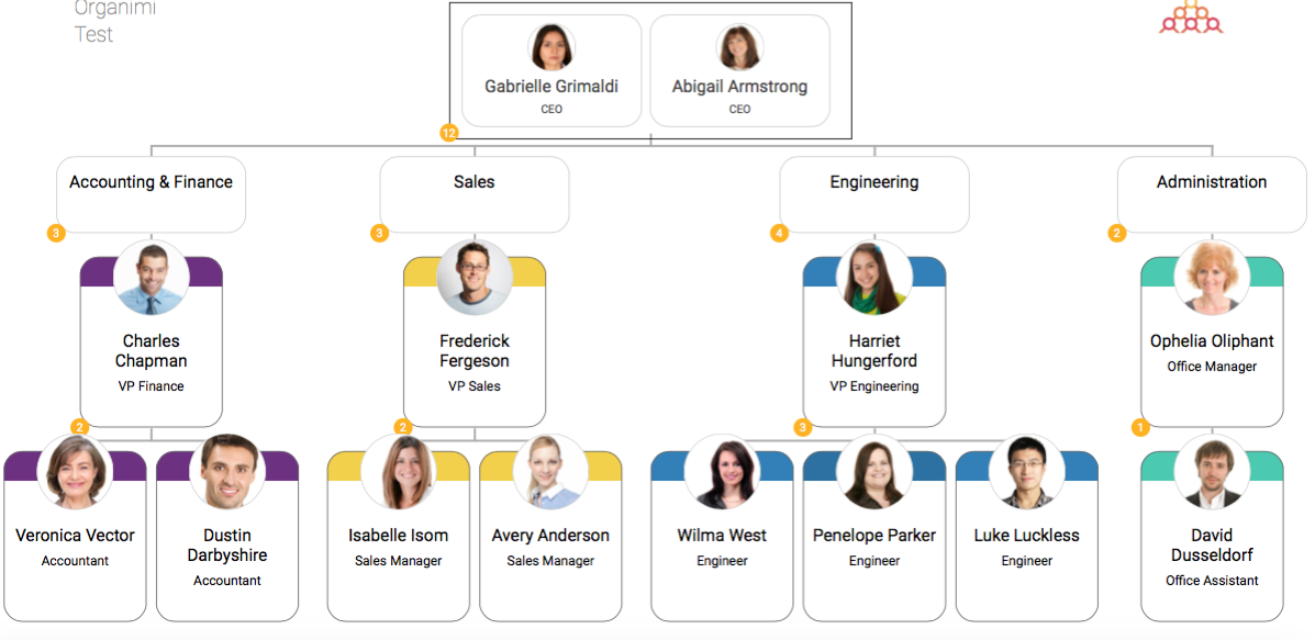 org chart with pictures