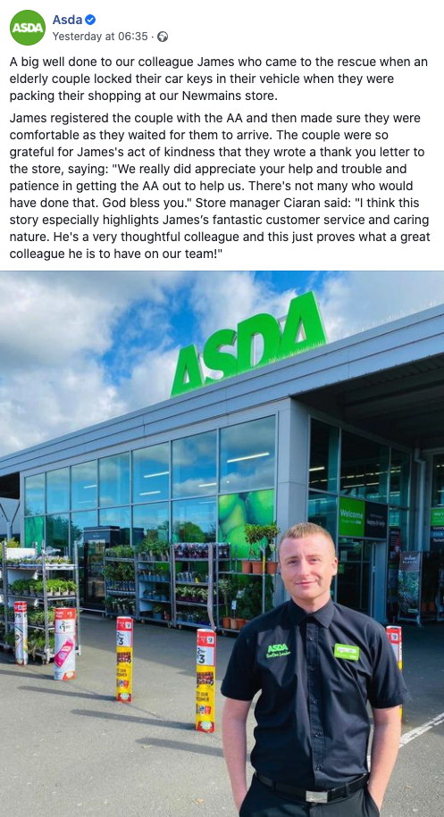 Asda (Walmart) recognizes its employees with regular social mediia posts.
