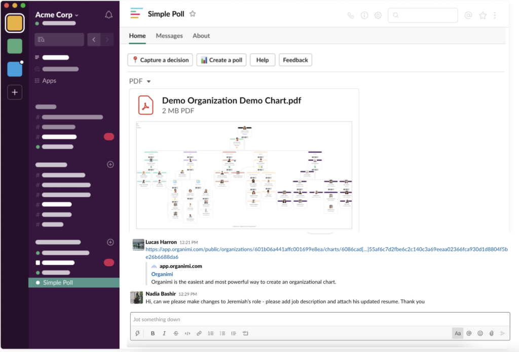 Share your org chart PDFs in Slack to show an embedded preview.